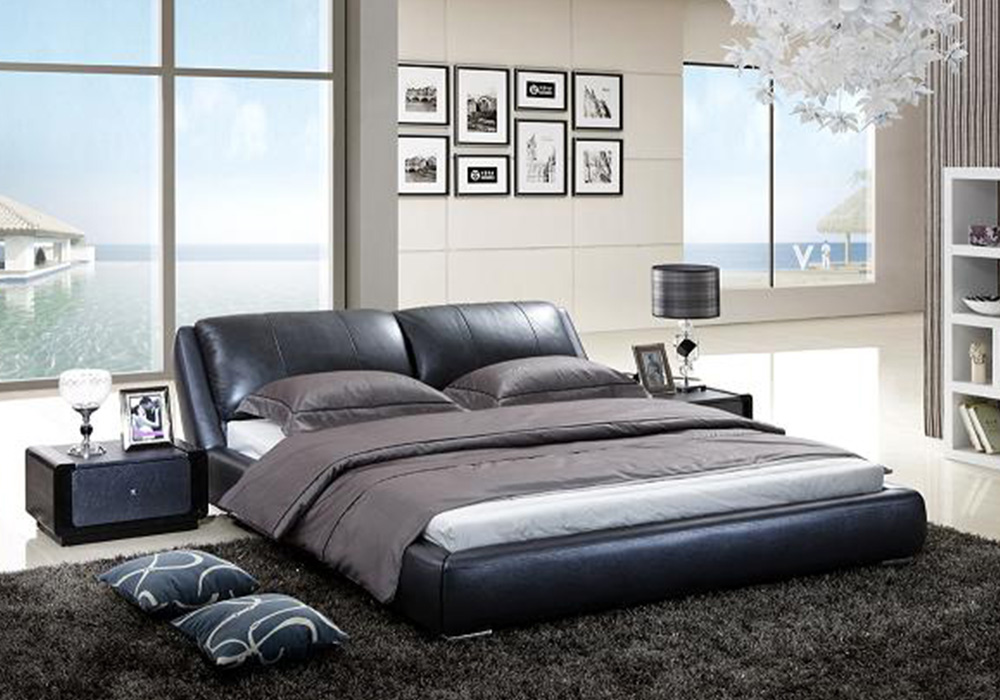 contemporary italian leather bed frame - Leather Bed