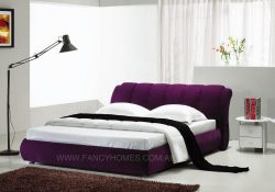 fabric bed in purple