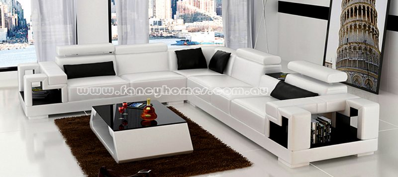 Fancy Homes Aliant-B corner leather sofa in white and black colour
