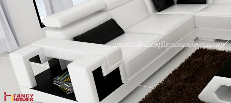 The storage armrests of Fancy Homes Aliant-B corner leather sofa