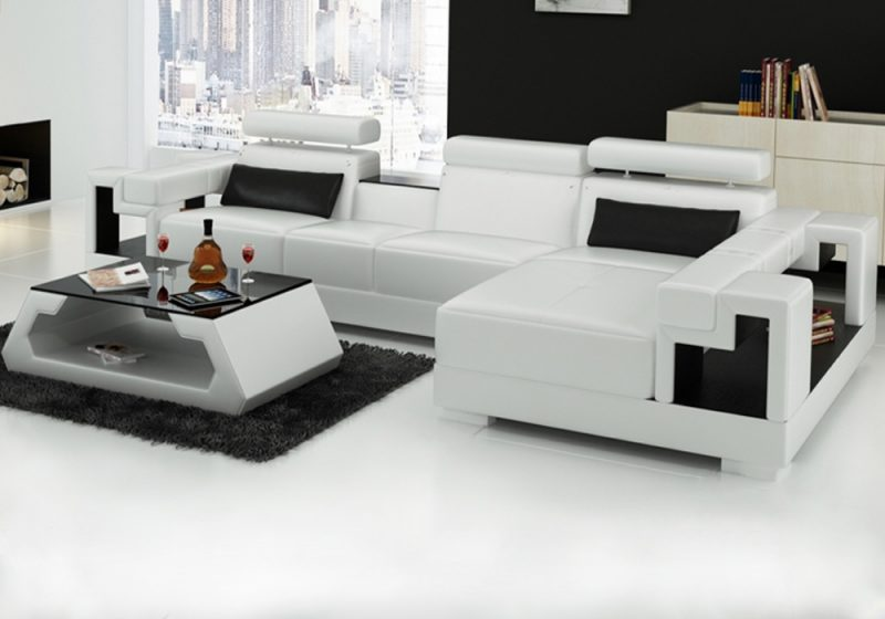Fancy Homes Aliant-C chaise leather sofa in white and black leather white storage armrests, adjustable headrests, built-in middle table and matching design coffee table