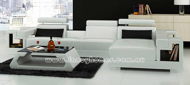 Fancy Homes Aliant-C chaise leather sofa in white and black leather