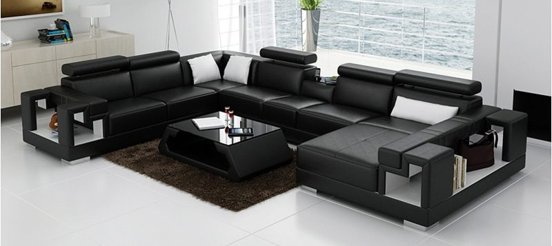 Fancy Homes Aliant modular leather sofa in black and white leather