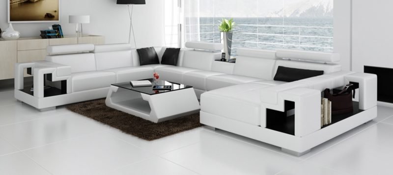 Fancy Homes Aliant modular leather sofa in white and black leather