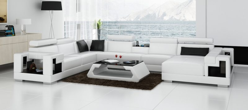 Fancy Homes Aliant modular leather sofa in white and black colour