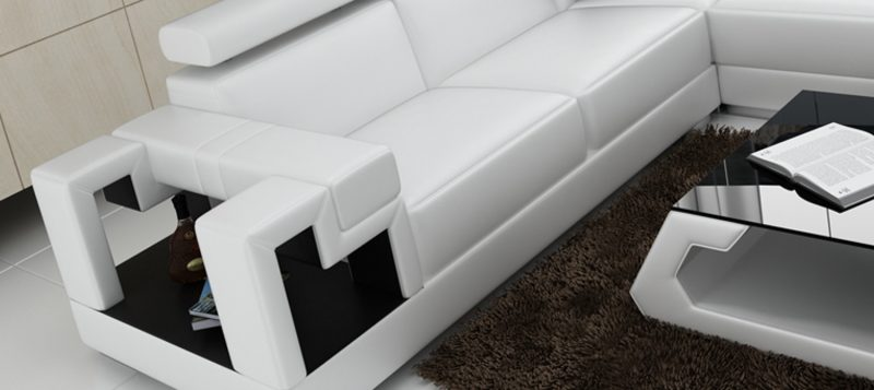 Fancy Homes Alaint modular leather sofa features storage armrests