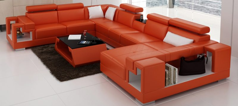 Fancy Homes Aliant modular leather sofa in orange and white leather