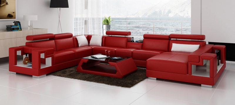 Fancy Homes Aliant modular leather sofa in red and white leather
