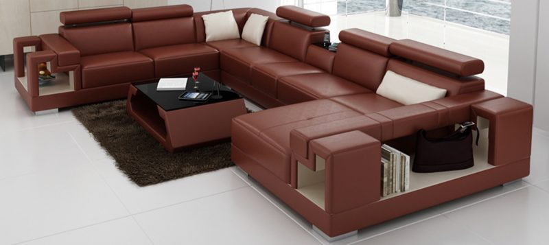 Fancy Homes Aliant modular leather sofa in dark red and cream leather