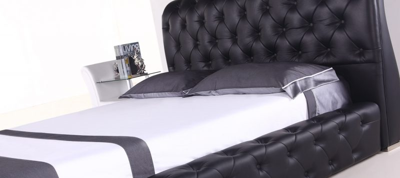 Fancy Homes Brennan Contemporary Leather Bed Frame Buckles