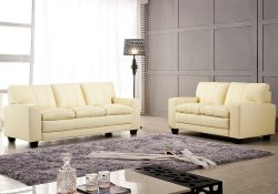 Fancy Homes Cacao lounges suites leather sofa in cream leather