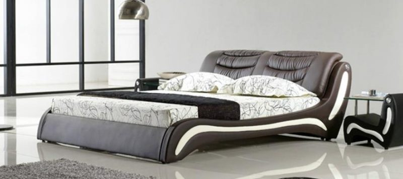 Fancy Homes Dabria Italian leather bed frame leather beds features two-tone colour