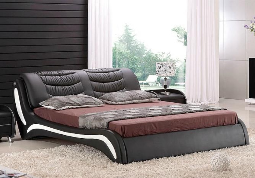 Dabria Contemporary Italian Leather Bed Frame Fancy Homes