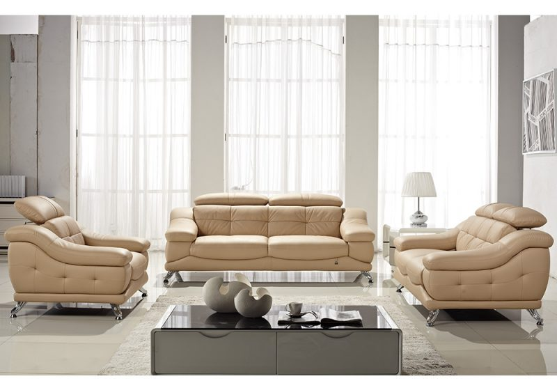 Fancy Homes Diana lounges suites leather sofa in beige leather featuring contemporary design and adjustable headrests