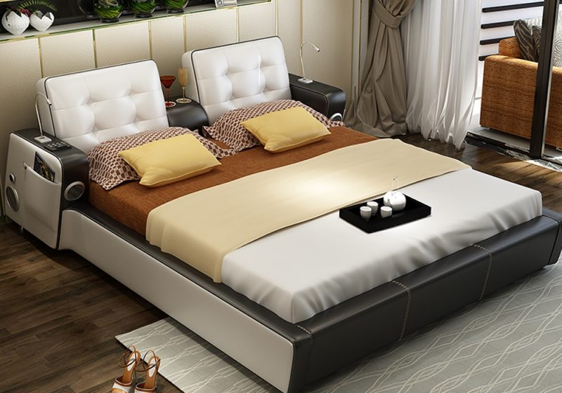 The side view of Elsa Italian leather bed frame