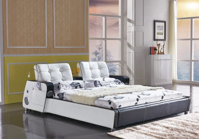 Fancy Homes Elsa Italian leather bed frame in white and black leather