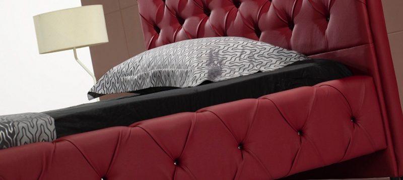 Fancy Homes Elvin Leather Bed Frame, Leather Beds Red Buckle Details