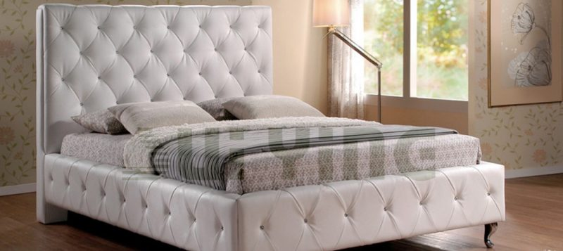 Fancy Homes Elvin Leather Bed Frame, Leather Beds in White