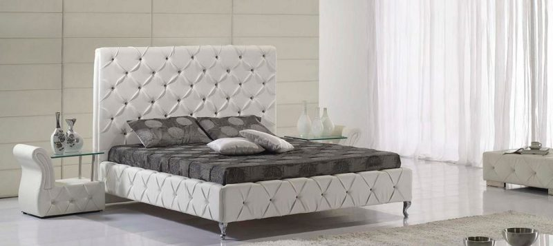 Fancy Homes Elvin Leather Bed Frame, Leather Beds White