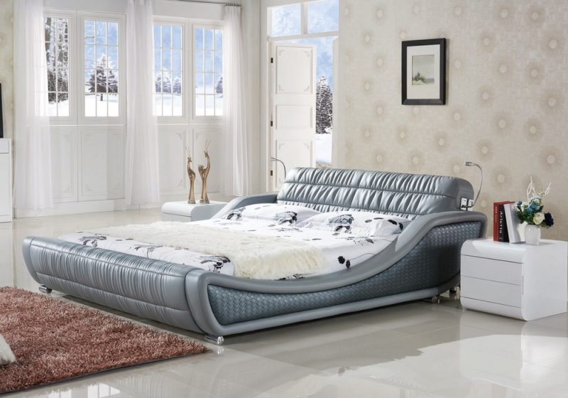 The side view of Enzo Italian leather bed frame