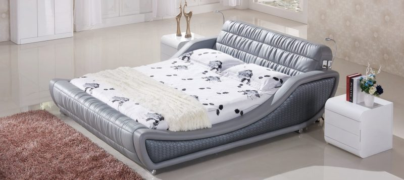 Fancy Homes Enzo Italian leather bed frame featuring reading lights on both sides of the bed frame