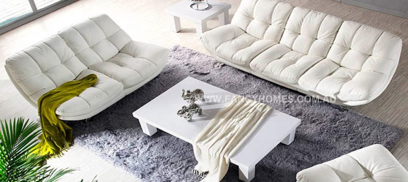 Fancy Homes Eugene lounges suites leather sofa in white leather