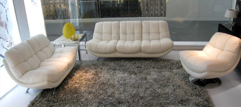 Fancy Homes Eugene lounges suites leather sofa in creamy white leather