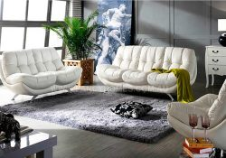 Fancy Homes Eugene lounges suites leather sofa in white leather with swivel single chair