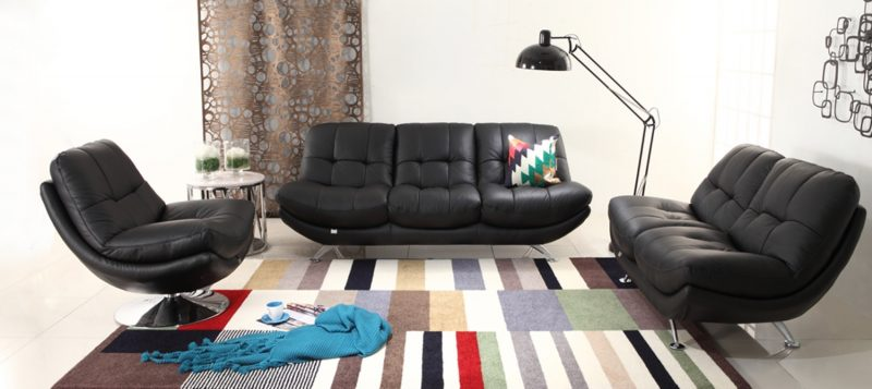 Fancy Homes Eugene lounges suites leather sofa in black leather