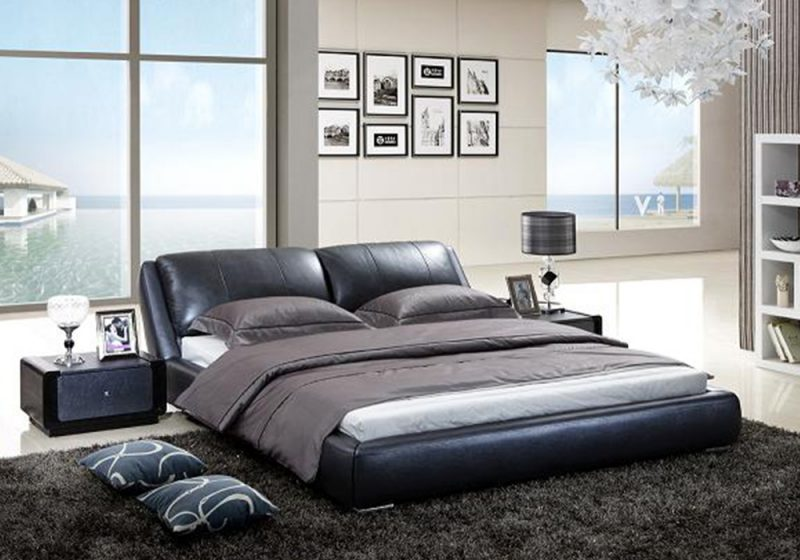 Edmund Italian Leather Bed Frame Fancy Homes