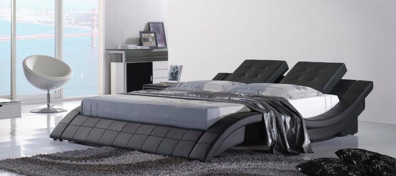 Fancy Homes Felice Contemporary Leather Bed Frame, Leather Beds in Black