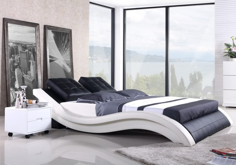 Fancy Homes Felice Contemporary Leather Bed Frame, Leather Beds