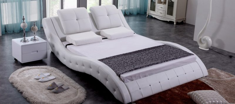 Fancy Homes Julia Italian Leather Bed Frame, Leather Beds in pure white featuring unique curved design