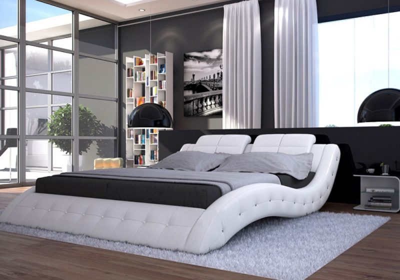 Fancy Homes Julia Italian Leather Bed Frame, Leather Beds in pure white