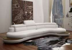 Fancy Homes Kara chaise leather sofa in white leather featuring touch-to-switch LED lighting, in-built side tables and adjustable headrests