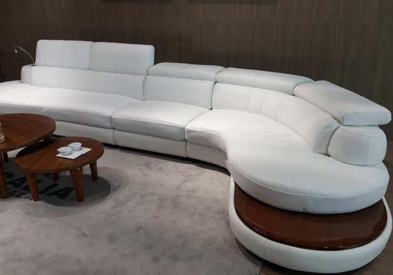 Display of Fancy Homes Kara chaise leather sofa in white leather