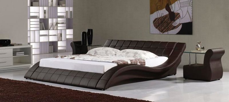 Fancy Homes Leia Leather Bed Frame, Leather Beds in Brown