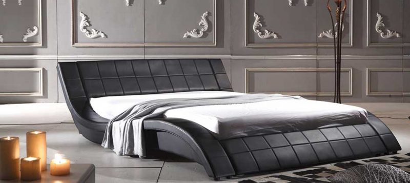 Fancy Homes Leia Leather Bed Frame, Leather Beds in Black