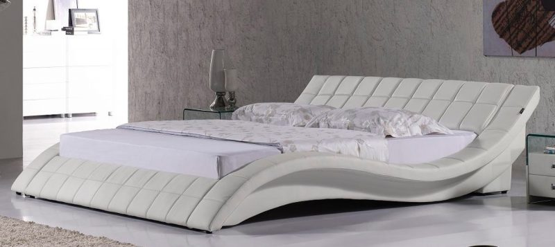 Fancy homes Leia Leather Bed Frame, Leather Bed in Pure White