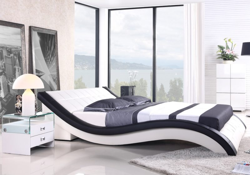 Fancy Homes Leia Leather Bed Frame, Leather Beds in White and Black