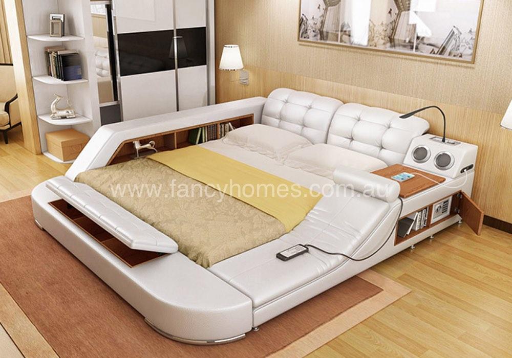 Lia Multifunctional Italian Leather Bed Frame