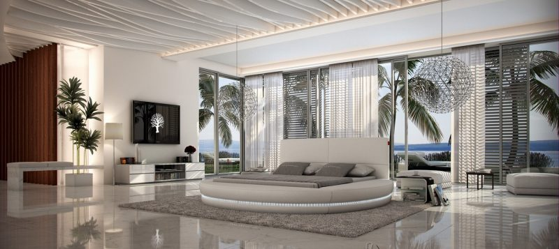 Fancy Homes Paco Round Leather Bed Frame, Leather Beds Led Lightings
