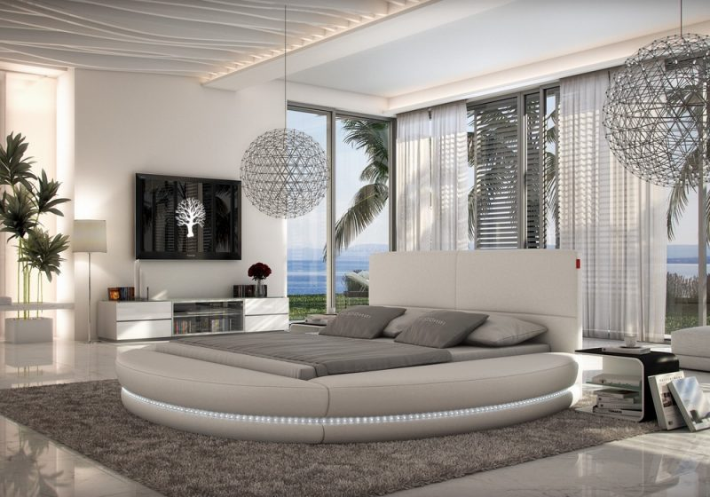 Fancy Homes Paco Round Leather Bed Frame, Leather Beds