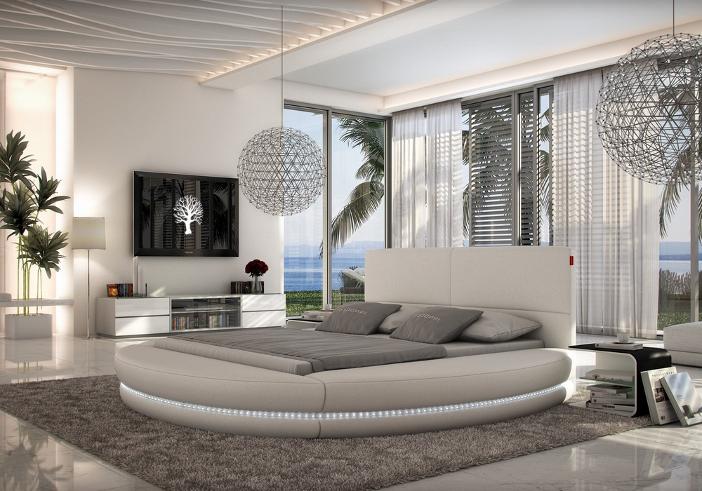 Paco Contemporary Italian Leather Round Bed Frame Fancy