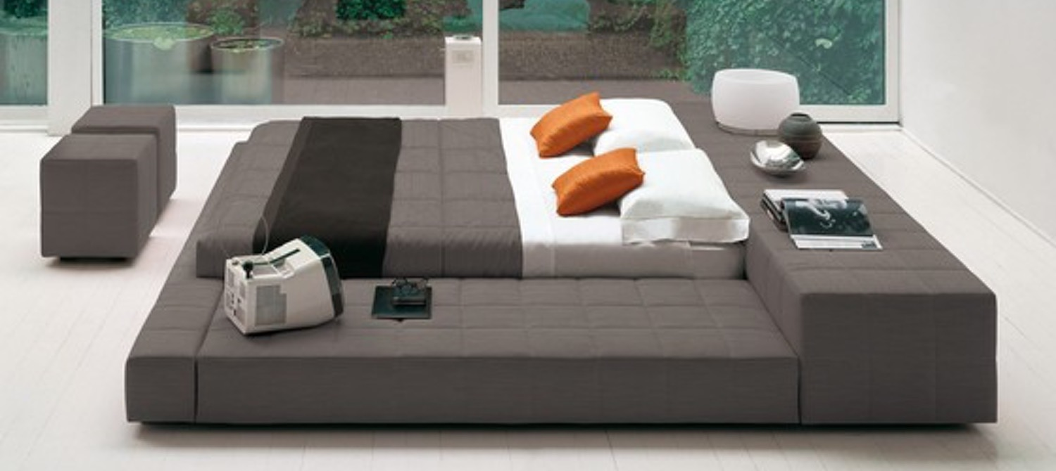 Pino Contemporary Tatami Leather Bed Frame Fancy Homes