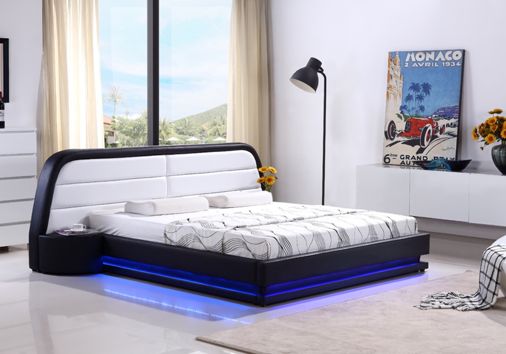Ricci Designer Leather Bed Frame With Led Light Fancy Homes