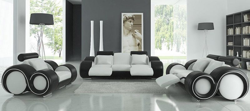 Fancy Homes Ruota lounges suites leather sofa in white and black leather