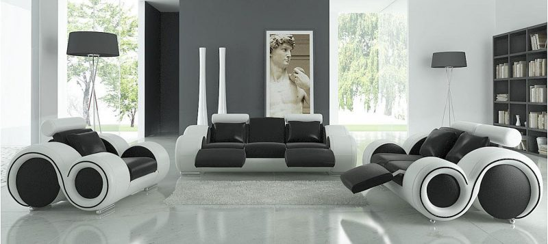 Fancy Homes Ruota lounges suites leather sofa in black and white leather