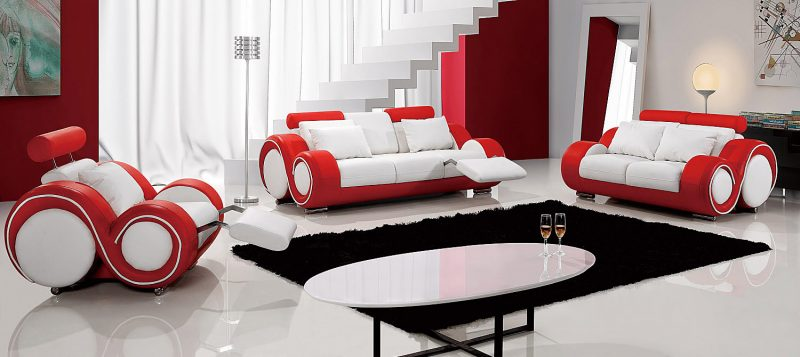 Fancy Homes Ruota lounges suites leather sofa in white and red leather