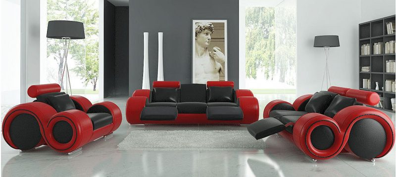 Fancy Homes Ruota lounges suites leather sofa in black and red leather